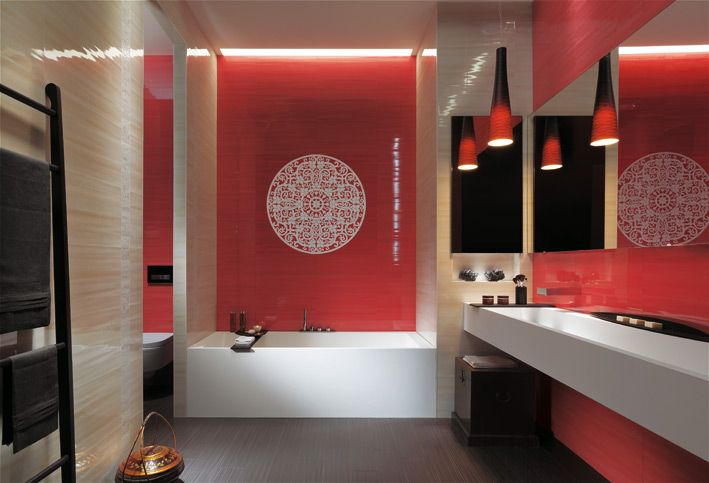 Love red, white & black colour palette, the light pendant fixtures, sleek vanity & mirror & the gorgeous detailed tiling.  This has personality plus!  (repinnned photo only from Exceptional Bathroom Tiles by Fap Ceramiche)