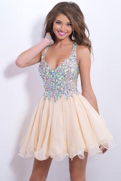 2015 Delicate Short/Mini Halter A Line/Princess Prom Dresses Lace&Chiffon Beadd Bodice Sexy
