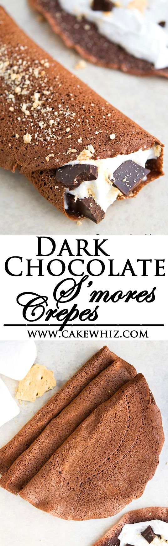 Easy S'MORES CREPES that are perfect for breakfast or brunch, especially in the Summer time! Thin chocolate crepes are filled with marshmallow fluff, graham crackers and chocolate chunks. From cakewhiz.com