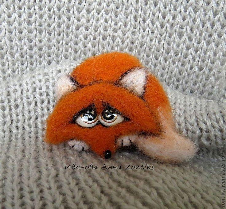Лисёнок Брошь сухое валяние - рыжий,лис,лисёнок,огненный,апельсиновый