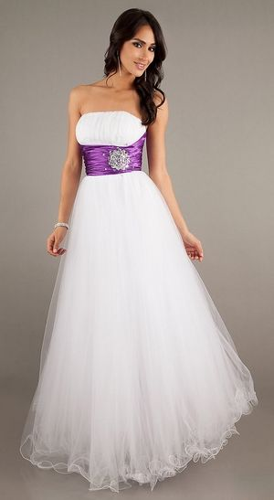 White Purple Princess A Line Ball Gown Poofy Tulle Strapless