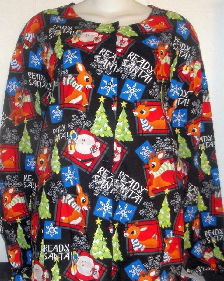 RUDOLPH RED NOSED REINDEER SANTA SNOW CHRISTMAS NURSE UNIFORM SCRUB JACKET XL #RudolphRedNosedReindeer