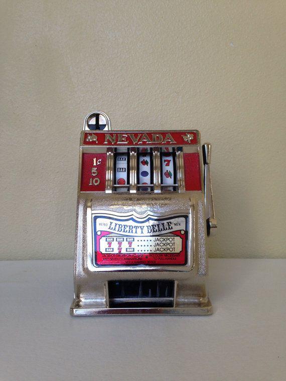 Rare Vintage 3 Wheel Toy Slot Machine Bank - Liberty Belle Saloon & Restaurant- Reno, Nevada