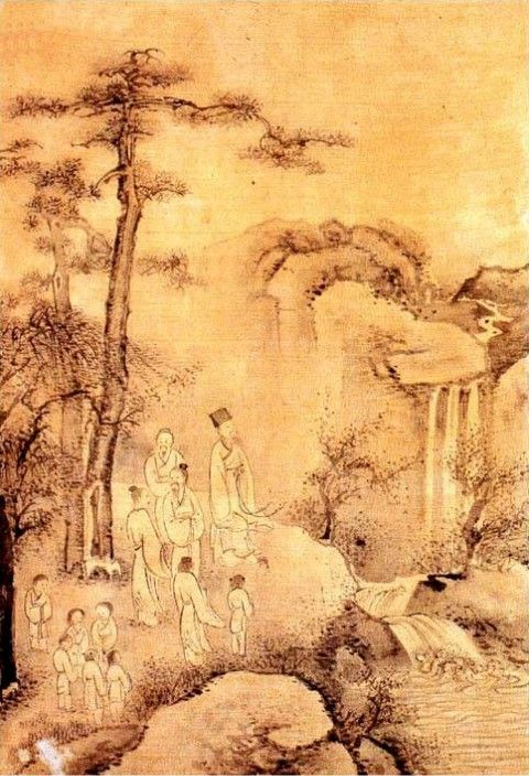 (Korea) Looking at the Falls by Kim Hong-do (1745- 1806). ca 18th century CE. color on paper. 관폭도.