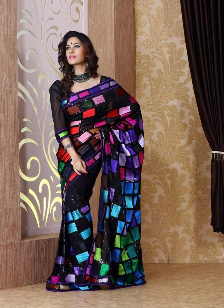 Black Faux Pure Georgette Saree Buy This Saree Online From India And Get Delivered to your Door
