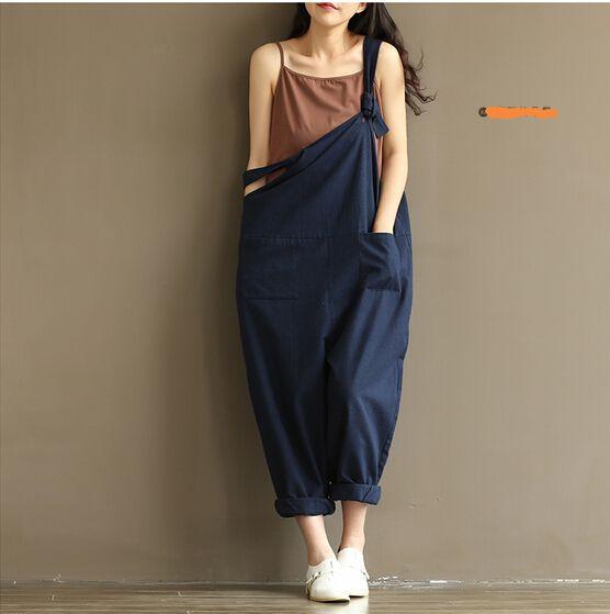 Navy Blue Cute Overalls Women Casual Large Size Jumpsuit Clothes Rompers Summer Autumn 2016 Cotton Linen on http://ali.pub/pdmo4