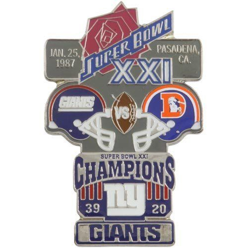 """NFL New York Giants Super Bowl XXI Collectors Pin by Football Fanatics. $14.95. High-quality team graphics. Imported. Officially licensed NFL product. New York Giants Super Bowl XXI Collectors PinOfficially licensed NFL productApproximately 2"""" x 3""""High-quality team graphicsImportedApproximately 2"""" x 3""""High-quality team graphicsImportedOfficially licensed NFL product"""