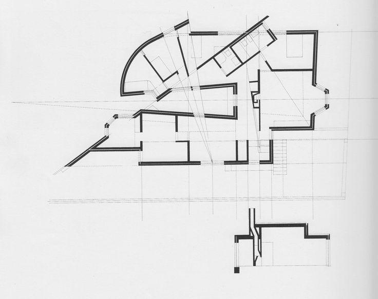 Alvaro Siza, plan and cross section for Casa Antonio Carlos Siza, 1976-78.