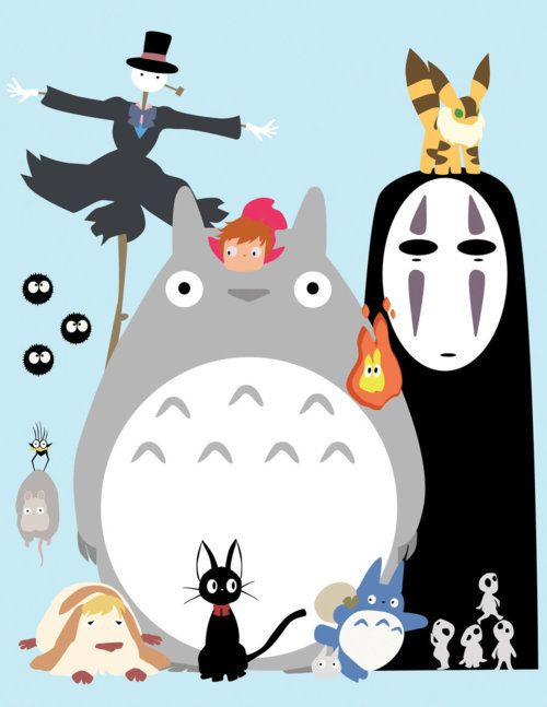 Studio Ghibli characters from Spirited Away, My Neighbour Totoro, Ponyo, and Howl's Moving Castle.