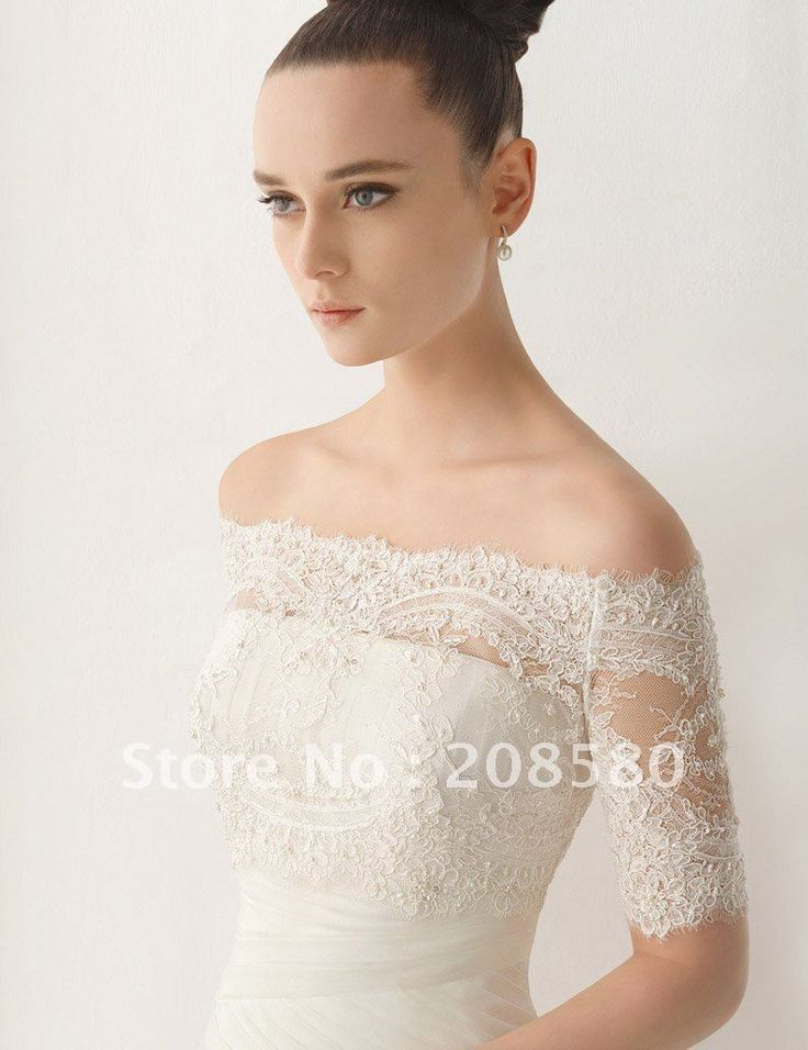 Off The Shoulder Beaded Lace Appliqued Tulle Half Sleeve