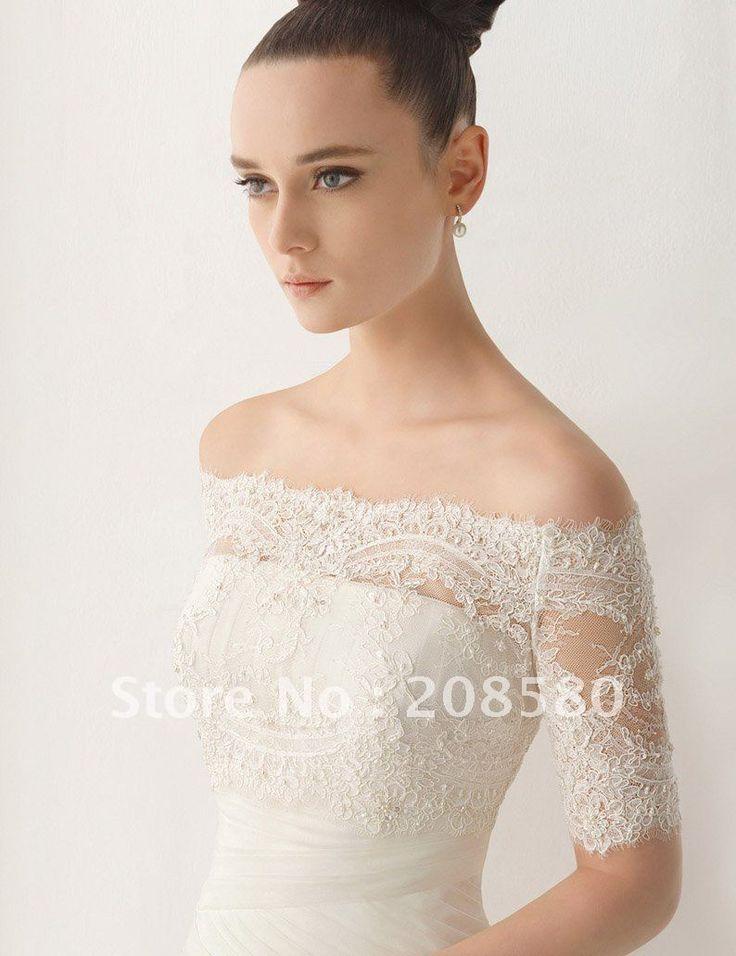 Off-The-Shoulder-Beaded-font-b-Lace-b-font-Appliqued-Tulle-Half-Sleeve-Bridal-Wedding-font