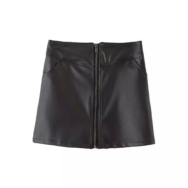 New Arrivals : Black leather skirt