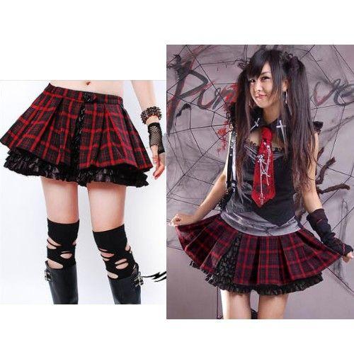 Red Plaid Black Fringe Layer Mini Gothic Lolita Tutu Skirt Skorts SKU-11406175