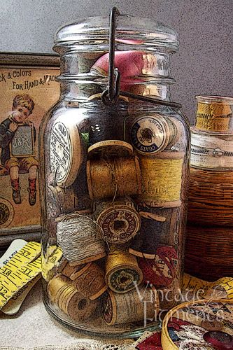 Spools in a jar - great way to use old canning jars