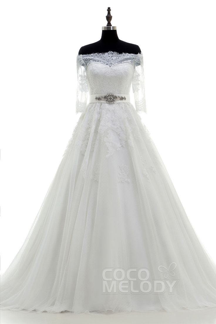 繊細 オフショルダー トレーン チュール アイボリー 半袖 ウェディングドレス アップリケ クリスタル LWWT15004
