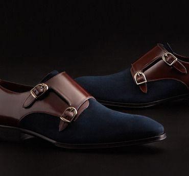 Mezlan suede & leather double monkstrap Men's shoes