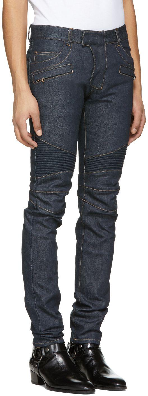 Balmain - Blue Raw Denim Biker Jeans