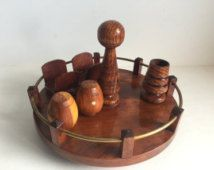 Vintage Wood Serving Pieces / Condiment Set / Condiment Holder / Napkin Tray /Rustic Decor /Peper - Salt Shaker / Toothpick Holder