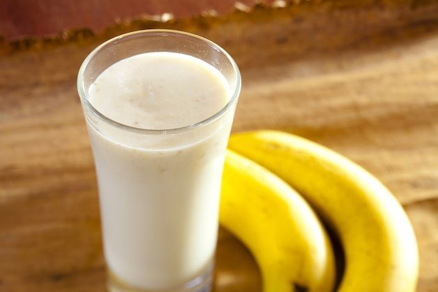 post workout   1 small banana, ½ cup plain Greek yogurt, ½ cup low-fat milk, 1 tbsp Peanut Butter, 1 tsp. cinnamon, 1 tsp honey: 280 calories, 5g fat, 1g saturated fat, 16g protein, 30g carbs, 4g fiber   Try these muscle-building meals that also boost exercise recovery.