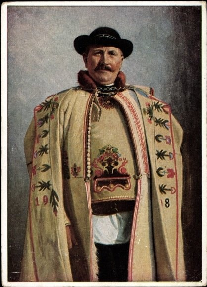 "A man wearing a traditional Hungarian ""szűr"". It was worn mainly by shepherds, bandits and village folk. The word szűr originally refers to the type of material it was made from, and can mean not only the coat but also the waistcoat worn under it. Also called ""cifraszűr"" where ""cifra"" means fancy, and refers to the fact that most were heavily ornate."