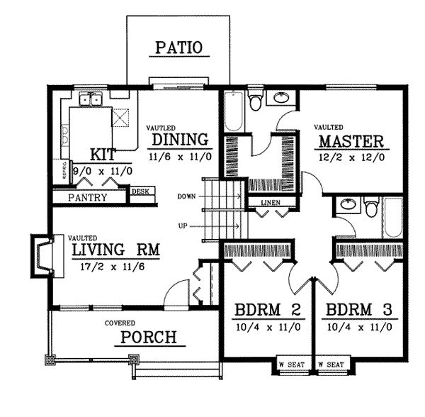 Bungalow Style House Plans - 1224 Square Foot Home , Multi-level Story, 3 Bedroom and 2 Bath, 0 Garage Stalls by Monster House Plans - Plan 1-147