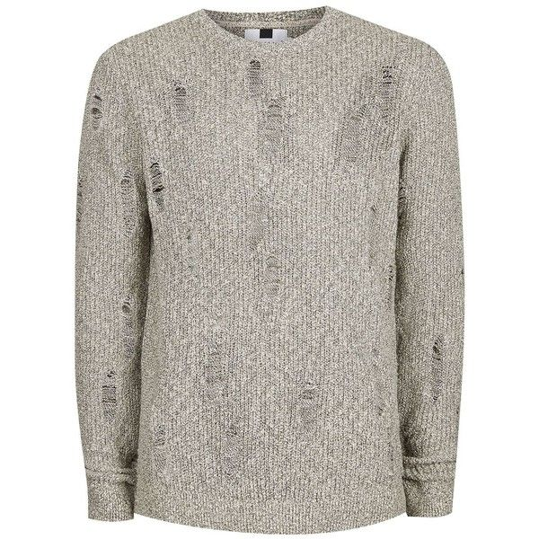 TOPMAN Stone Twist Ripped Slim Fit Jumper ($23) ❤ liked on Polyvore featuring men's fashion, men's clothing, men's sweaters, stone, mens slim fit sweater, men's crewneck sweaters and mens crew neck sweaters
