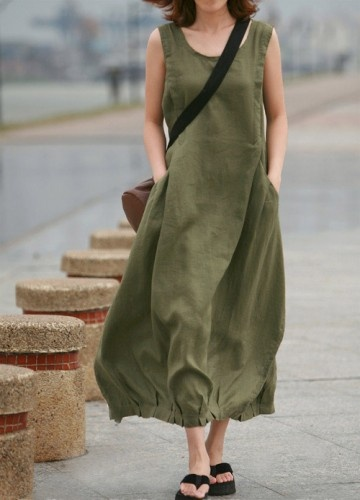 Casual Army Green Long Linen Vest Dress-AGOE036