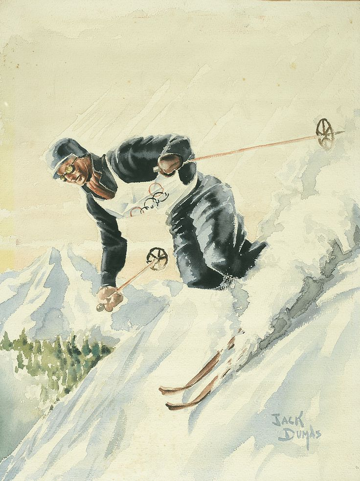"""""""Olympic Men's Downhill Skier,"""" Jack Dumas, ca. 1960, watercolor and wash on textured paper, 21 3/4x16 1/2"""", private collection. Promotional illustration for the 1960 Squaw Valley, California, Winter Olympics."""