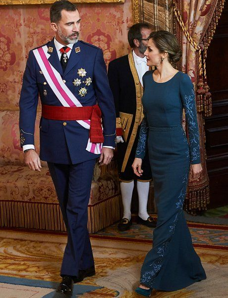 King Felipe VI of Spain and Queen Letizia of Spain attended the Epiphany Day celebrations (Pascua Militar) at the Palacio Real on January 6, 2017 in Madrid, Spain