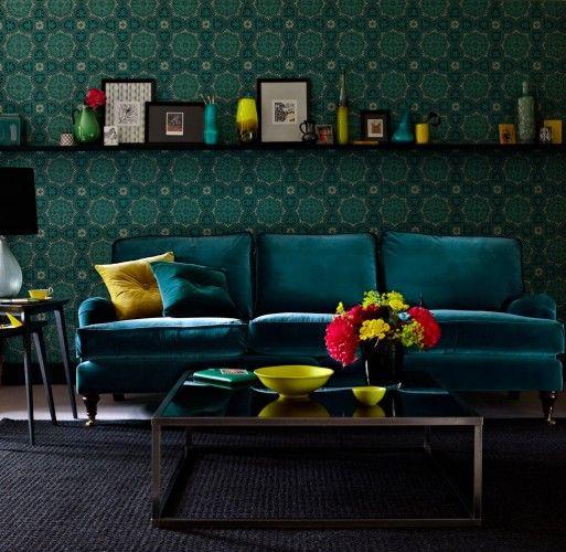 Best Deep Teal Velvet Sofa Oh My Inspiring Living Spaces 400 x 300