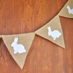 Make this cute burlap bunny garland to bring spring to any space! Easy and inexpensive to make.