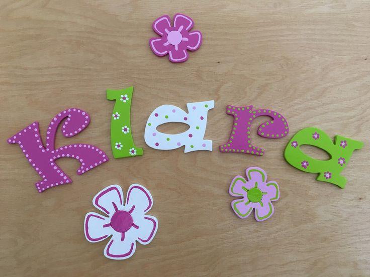 Fresh Holzbuchstaben Holzbuchstaben f r Kinderzimmer T r Blumen ein Designerst ck von Flophi bei DaWanda