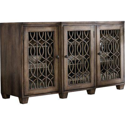 features materials hardwood solids and walnut veneers 2 adjustable shelves behind hooker consolestv