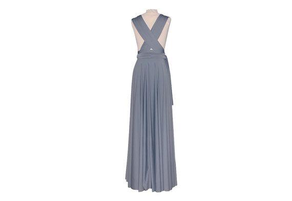 Infinity Twist Wrap Bridesmaid Light Gray Long Dress by TwistWrap