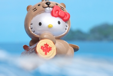 Hello Kitty dressed as the Canadian beaver