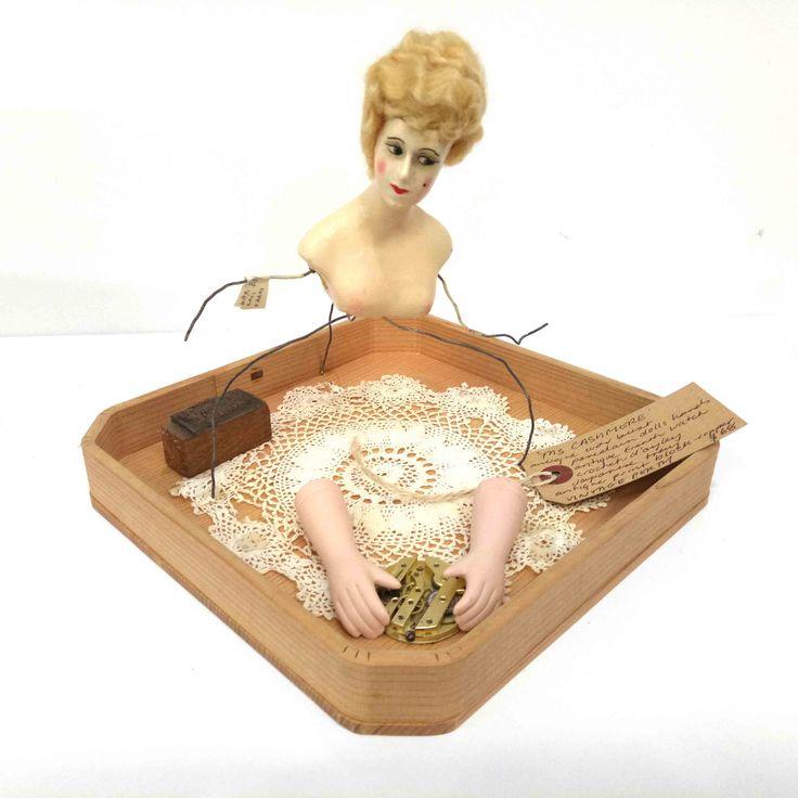Vintage Perth - Mrs Cashmere - Antique wax bust, porcelain dolls hand, antique french watch, crochet d'oyley, Japanese tray, antique print block - copper $68