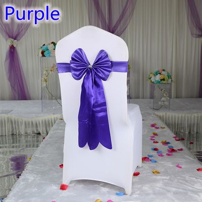 Colour purple chair sash long tail wedding butterfly bow tie lycra band stretch bow tie ribbon for weddings wholesale on sale