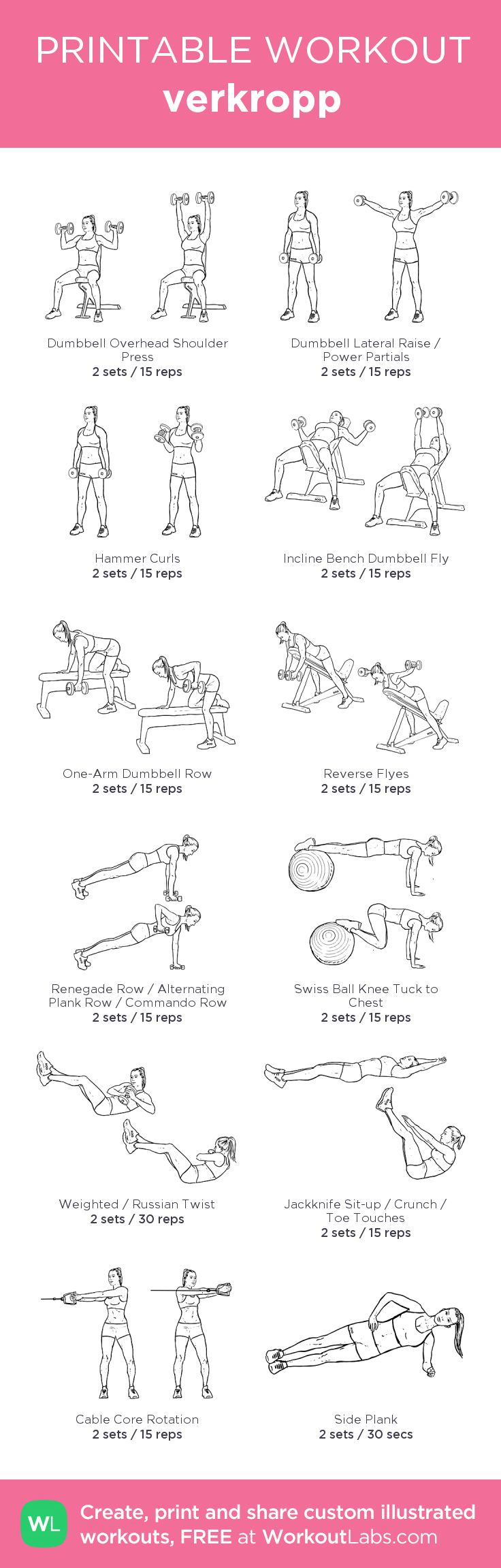 Överkropp: my visual workout created at WorkoutLabs.com • Click through to customize and download as a FREE PDF! #customworkout