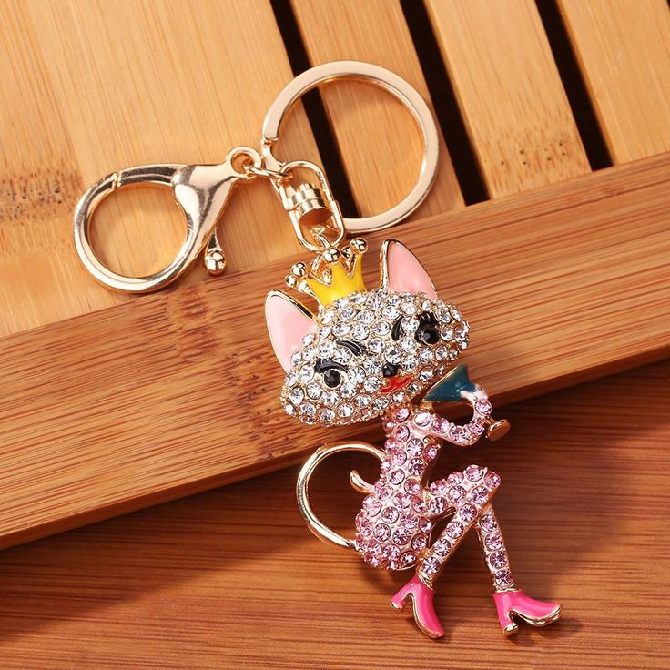 Rhinestone Cat Lady Sparkling Charm Keychain Bag Handbag Key Ring Car Key Pend
