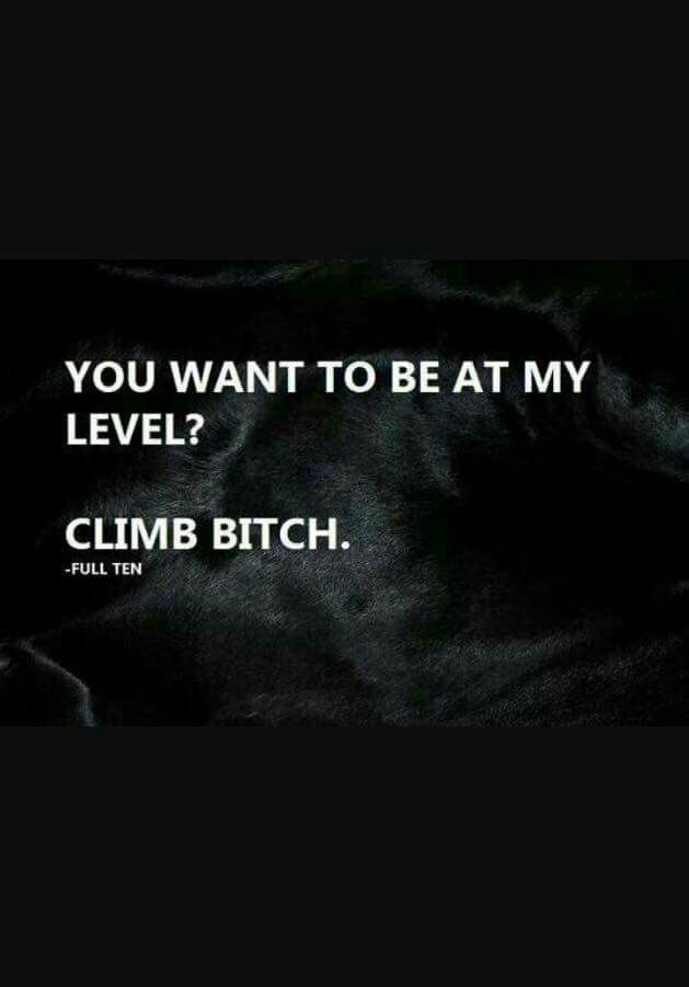 You want to be at my level? Climb bitch