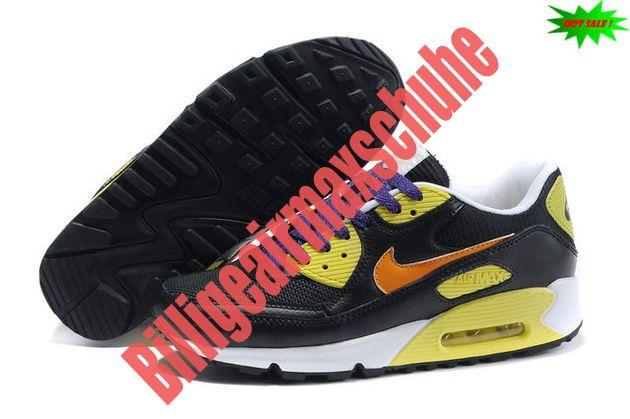 TXRD 2014 Schwarz Gelb Weiß Nike Air Max 90 Schuhe Damen 4905264