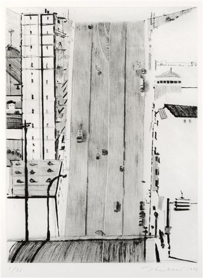 Artwork by Wayne Thiebaud, Wide Downstreet, Made of Drypoint on wove paper