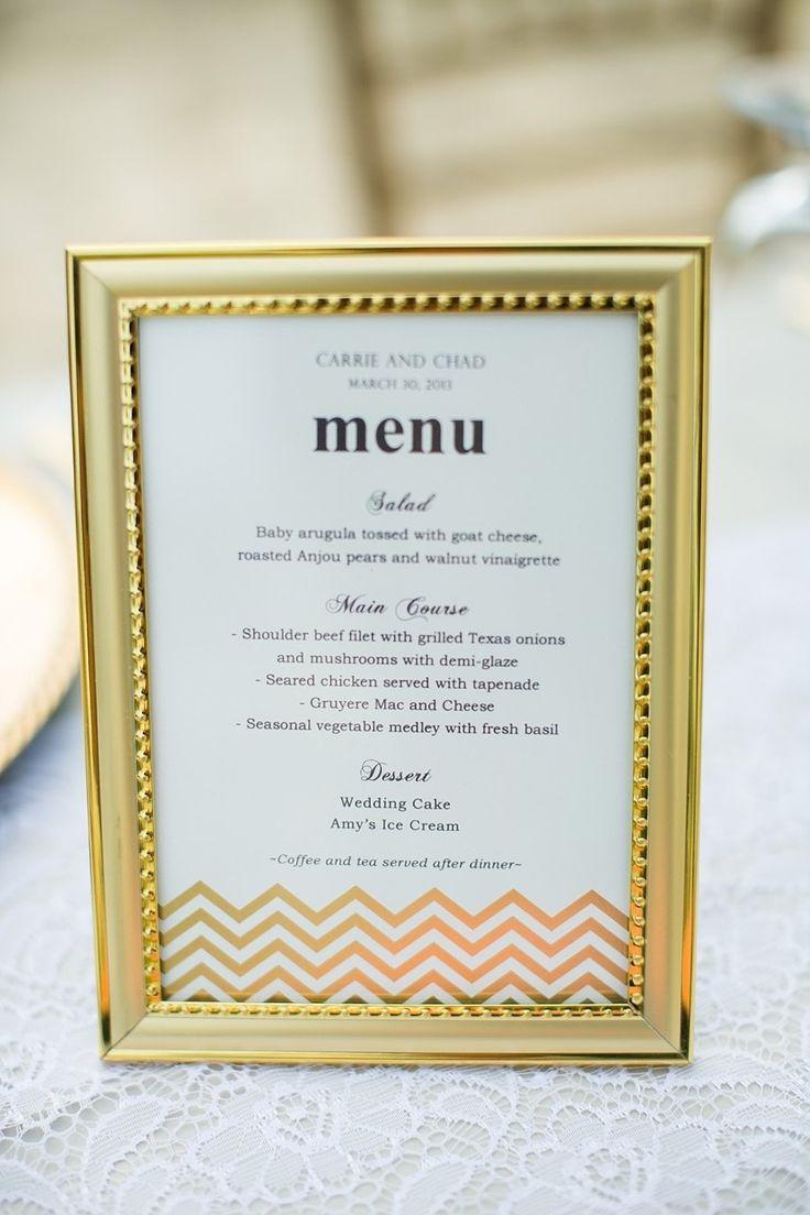Decoração DIY: menu do jantar de casamento em porta-retrato