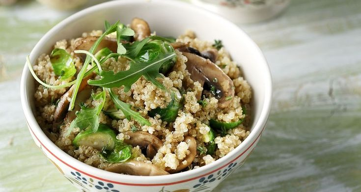 Quinoa with Mushrooms and Brussel Sprouts. A healthy, vegetarian and dairy free recipe.