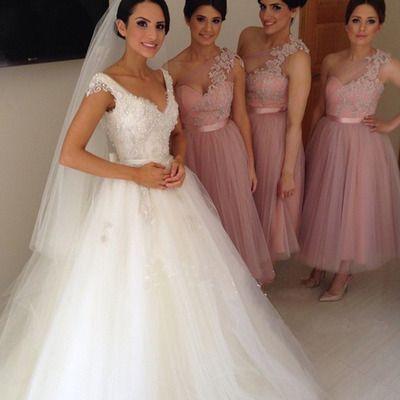 Ankle Length Bridesmaid Dresses, One Shoulder Lace Bridesmaid Dresses, Tulle Bridesmaid Dresses, Cute Bridesmaid Dresses, Cheap Bridesmaid Dresses, Bridesmaid Dresses, Popular Bridesmaid Dress,PD0848