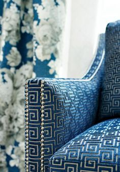 Blue and White GreekKey Easy Chair with Studs