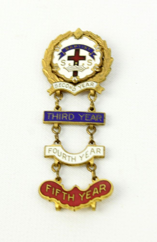 Vintage Cross & Crowns Baptist Sunday School Attendance Pin 3rd 4th 5th Broadman #weboys10