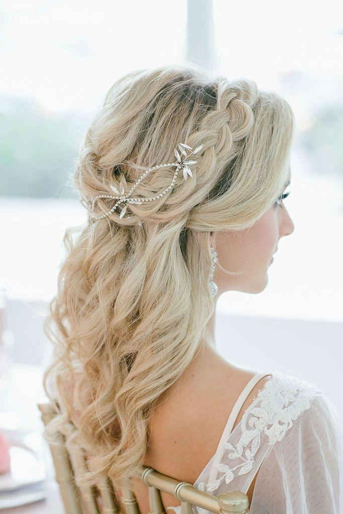 Romantic Blue Blush Wedding Inspiration Bridal Hairstyles With