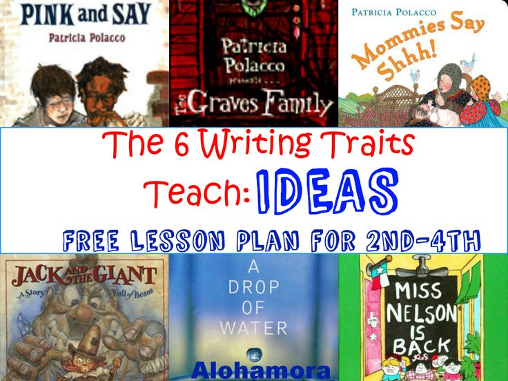 Alohamora: Open a Book: Free Lesson Plan for 6 Writing Traits: IDEAS for 2nd-4th grade.  A FREE printable Lesson Plan to teach the Six (6) Writing Traits, IDEAS Trait to 2nd, 3rd, or 4th Graders in the library by the librarian, by a classroom teacher, or at a home school environment.  Use picture books to teach good writing; it's the best way. Alohamora Open a Book http://alohamoraopenabook.blogspot.com/
