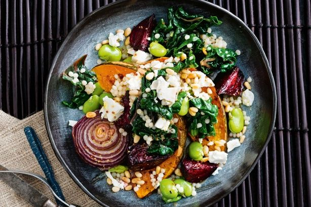 Warm beetroot and chilli pumpkin pearl couscous salad
